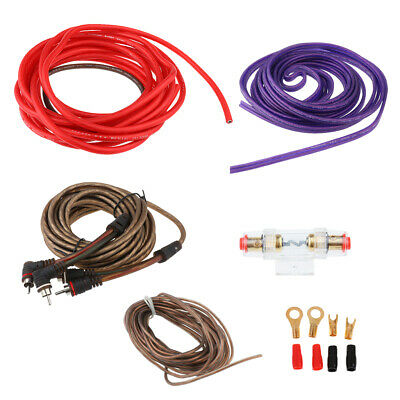 Car Audio 8 Gauge Amplifier Installation Wiring RCA Power Cable Complete Set