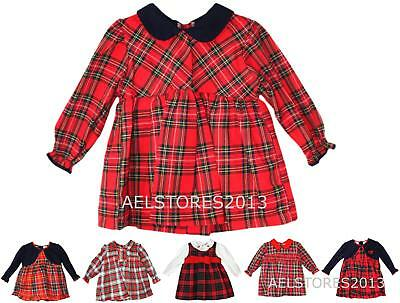 Baby Girls Gorgeous Smocked Romany Style Tartan Red Rose Bow Dress 0-24 Months