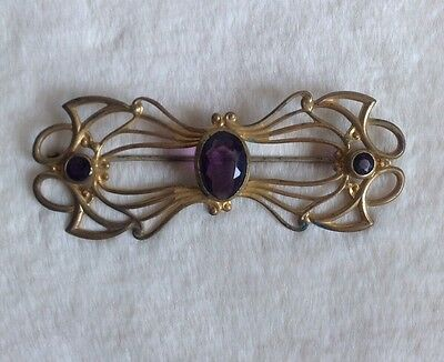 Antique Art Deco Brass Tone Oversized Brooch With Amethyst Colored Glass