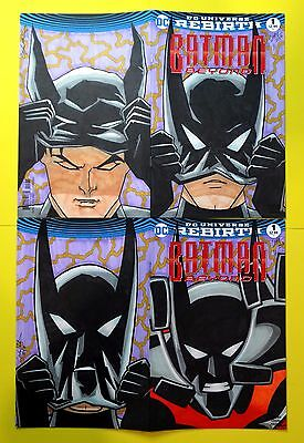 "BATMAN BEYOND #1 BLANK SKETCH VARIANT COVER 1/1 ""2-COMIC/4-PANEL"" ART by CARY"