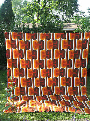 "Vintage 60s 70s Mod Pop Art Barkcloth Curtain Panel Large 84""x94"""