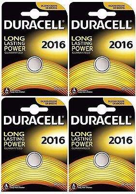 4x Duracell 2016 3V Lithium Coin Cell CR2016/DL2016 Batteries (4 Batteries)