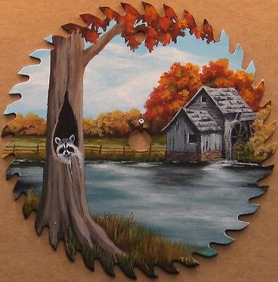 "Hand Painted Saw Blade 7 1/4"" Raccoon Old Mill Pond Cabin Lodge Country Decor"