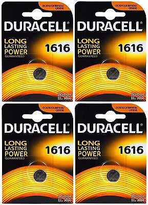 4x Duracell 1616 3V Lithium Coin Cell CR1616/DL1616 Batteries (4 Batteries)