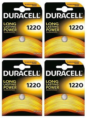 4x Duracell 1220 3V Lithium Coin Cell CR1220/DL1220 Batteries (4 Batteries)