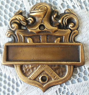 2 Vintage Brass Front Door Name Plates W/ shield & knights 1 knocker great look!