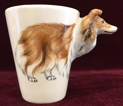 Blue Witch 3D SHETLAND SHEEPDOG Hand Crafted Ceramic Mug Coffee Cup