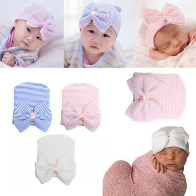 Infant Newborn Baby Girl Toddler Comfy Bowknot Hospital Cap Beanie Hat Fast Ship