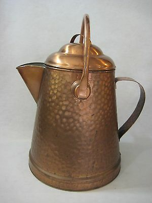 "Old Vintage Hammered Copper Large Water Pot Pitcher, 13"" T X 12"" Widest W/handle"