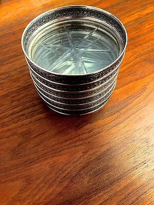 American Sterling Silver & Cut Glass (6) Cocktail Coasters No Monogram