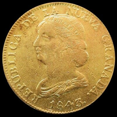 1843 Um Gold Colombia 16 Pesos Coin Popayan Mint