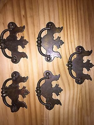 Set of 5 Vintage Brass Plated Steel Chippendale Drawer Pulls Handles