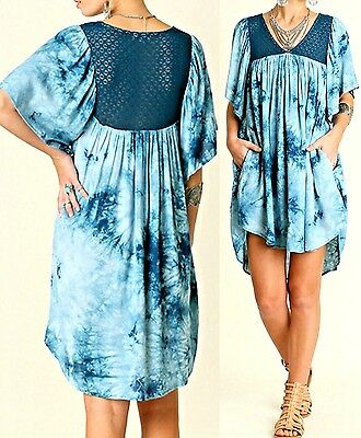 Umgee Dress Size XL S M L Teal Tie Dye Lace Tunic Free Boho People Womens New