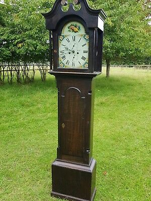Antique George III Stained Oak Eight Day Longcase Grandfather Clock