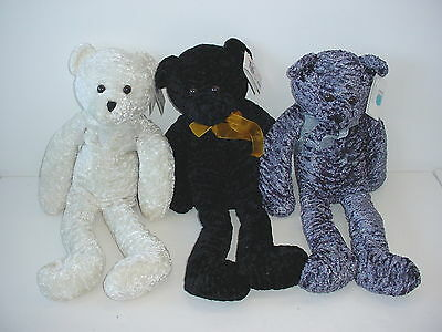 Lot of 3 Curley Plush Bears 22 inch Cuddle Me Chenille Tag Alongs New With Tags