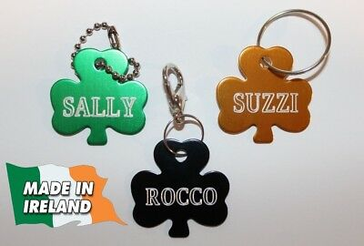 MADE IN IRELAND Shamrock, clover, Dogs ID, personalized ID tag, tags dog, badge.