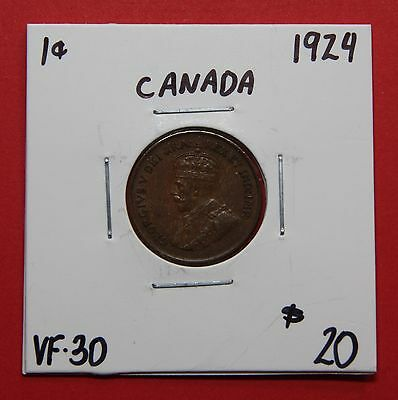 1924 Canada One Cent Penny Coin C469 - $20 VF-30 - Key Date!