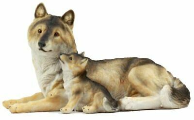 "Alpha Gray Wolf Family Figurine 9.75""L Timber Wolf Mother Resting With Pups"