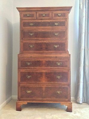 18th Century Chippendale Replica Inlaid Burled Walnut Chest-on-Chest w/ Pull Out