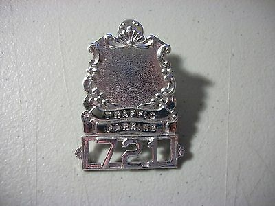"Obsolete Vintage Traffic Parking Badge #721 Silver 1.75"" By 2.5"""
