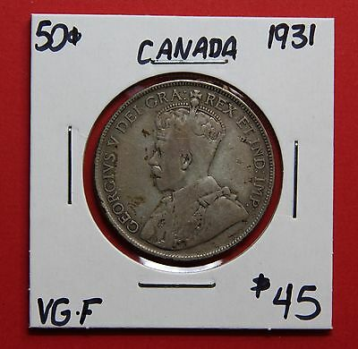 1931 Canada 50 Cent Silver Coin Fifty Half Dollar C495 - $45 VG/F
