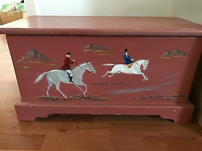 vintage Hand Painted Equestrian Chest Box Trunk