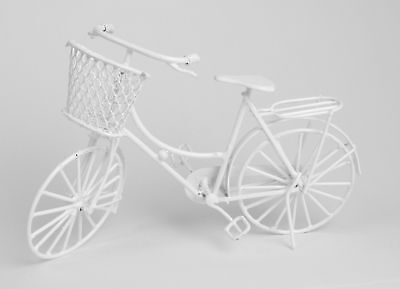 Miniature Ladies Shopping Bike White 12th Scale Dolls House Collectables (N2x)