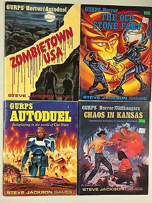 4 x GURPS Books - Zombietown USA, The Old Stone Fort, Autoduel, Chaos in Kansas