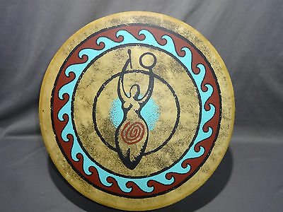 """1991 ALL ONE TRIBE 14""""MEDICINE DRUM GODDESS Native NM Hand Crafted Rawhide"""