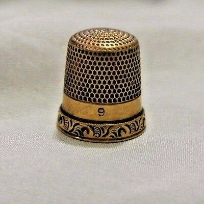 Antique 14K Solid Yellow Gold Sewing Thimble 3.8G Size 9