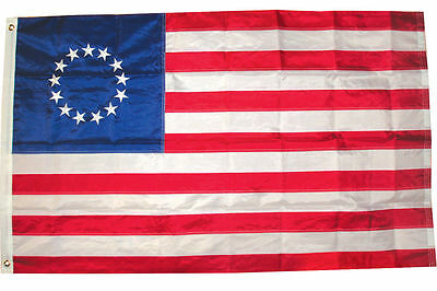 2x3 Ft EMBROIDERED BETSY ROSS 13 STAR NYLON US STARS & SEWN STRIPES USA FLAG