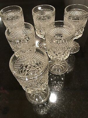 Beautiful vintage 6 piece etched glass wine Champagne art Display Decore cups