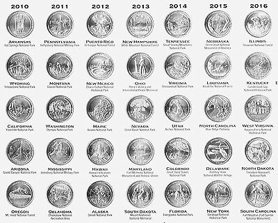 35 US National Park Quarter 2010 - 2016 D Mint