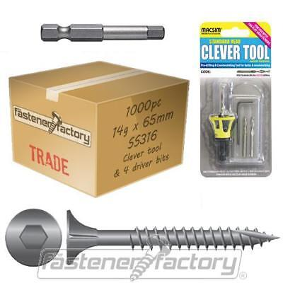 1000pc 14g x 65mm 316 Stainless Timber Decking Screw Clevertool Bundle Pack Deck