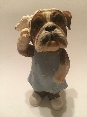 Boxer Female  Dog Injured Resin Figurine.