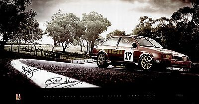 Dick Johnson John Bowe Signed 1989 Bathurst Winner DJR Ford Sierra Poster