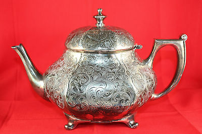Vintage Forbes Silver Co 235 Etched Silverplated Footed Teapot USA STUNNING!