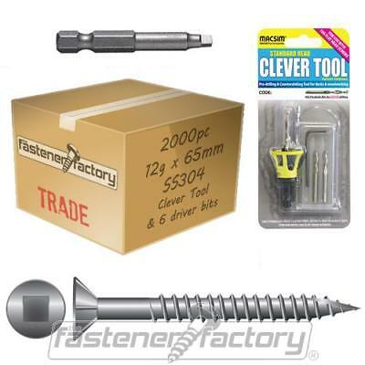 2000pc 12g x 65mm 304 Stainless Steel Decking Screw Clevertool Pack Cheap Merbau