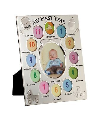 Viceni My First Year Picture Photo Frame 13 Aperture Baby Gift Silver ... NO TAX