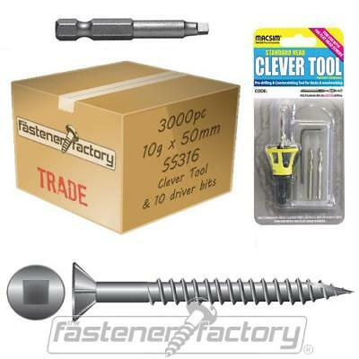 3000pc 10g x 50mm 316 Stainless Timber Decking Screw CleverTool Merbau Deck Pack