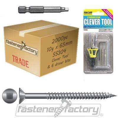 2000pc 10g x 65mm 304 Stainless Steel Decking Screw CleverTool Pack Cheap Merbau