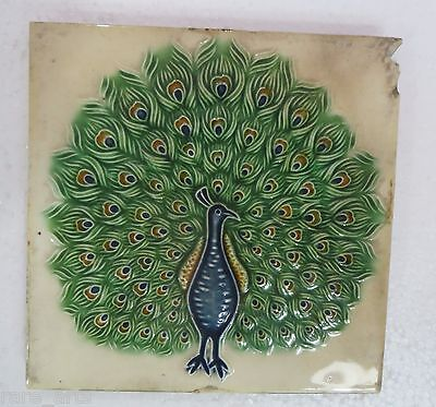 "Dancing peacock Ceramic Glazed Tiles 6"" Wall decor Color design unique Japan"