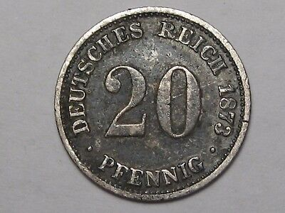 Rare Date 1873-c German Empire Pfennig.  #29