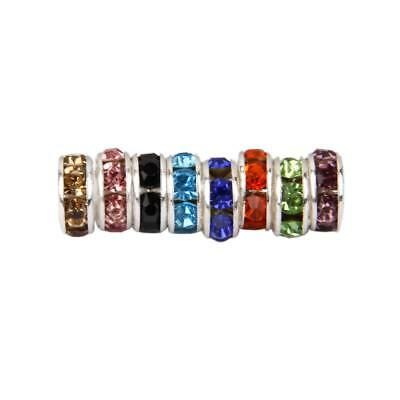 50pcs Silver /Gold Tone Crystal Rhinestone Charm Rondelle Spacer Beads 6/8/10mm