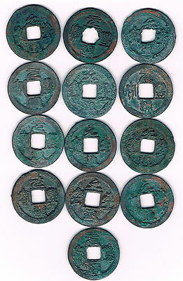 CHINA : 13 X OLD CASH COINS  11th Century A.D. Northern Sung