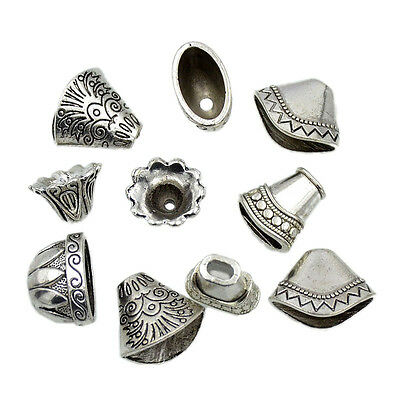Vintage Silver Alloy Findigns Shell Leaf Flower Beads Tassel Ends Cap Jewelry