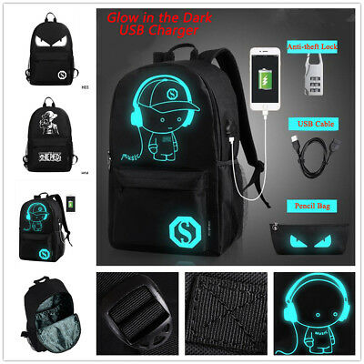 Men Women Backpack School Bag Luminous +Anti-theft Lock+USB Charger Bags