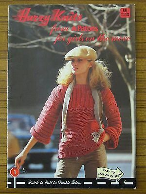 Patons Knitting - 654 Hurry Knits For Girls On The Move Ladies 7 8 12 14 Ply