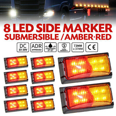 10X LED Clearance Lights Amber RED Side Marker Indicator Trailer Truck 12V 24V