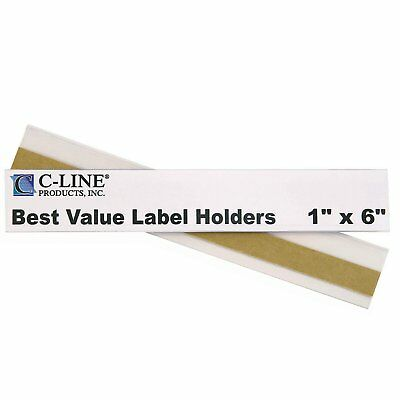 C-Line Best Value Peel and Stick Shelf/Bin Label Holders, Inserts Included, 1 x